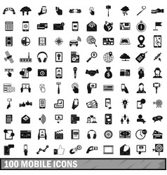 100 mobile icons set simple style vector image