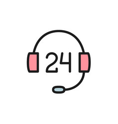 24 hours service support flat color icon vector