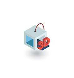 3d printer isometric flat icon 3d vector image