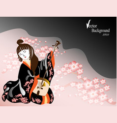 a japanese woman in a kimono plays a national vector image
