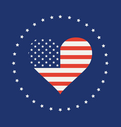 American flag in form heart vector