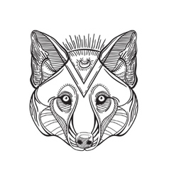 Animal head print for adult anti stress coloring vector image