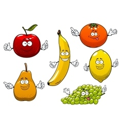 Apple pear banana orange grape and lemon vector image