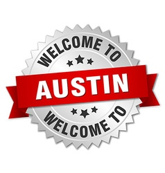 Austin 3d silver badge with red ribbon vector