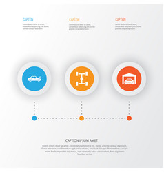 Automobile icons set collection repairing vector