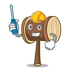Automotive mallet mascot cartoon style vector
