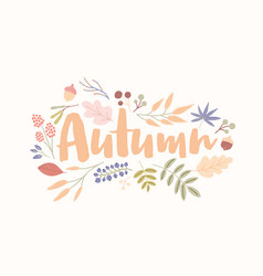 Autumn word handwritten with elegant cursive font vector