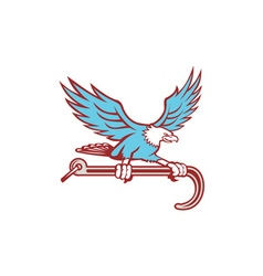 Bald Eagle Clutching Towing J Hook Retro vector