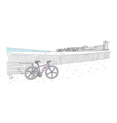 Bicycle stands on deserted beach far away at home vector