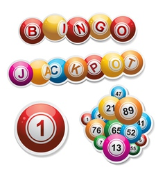 Bingo stickers set vector
