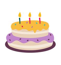 birthday cake sweet tasty festive dessert cartoon vector image