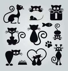 Black cat silhouette collection design vector
