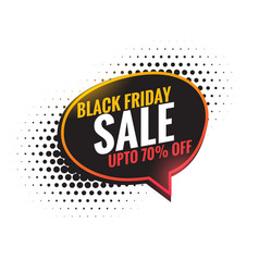 Black friday sale chat bubble background vector