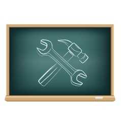 Board hammer and wrench vector