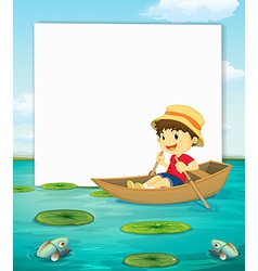 Boy on boat banner vector image