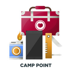 Camping or camp adventure tools icons vector