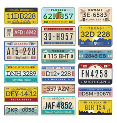car license plates automobile registration vector image
