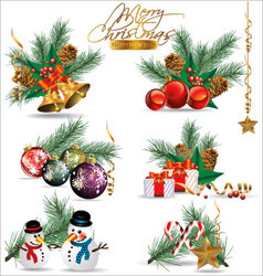Christmas and New Years decoration elements vector image