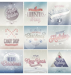 christmas emblems light vector image