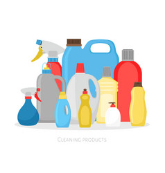 cleaning products bottles isolated plastic vector image