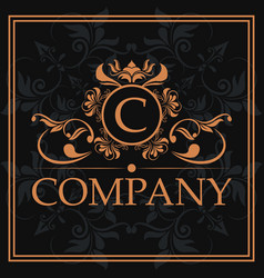 Company c monogram crest golden label vector