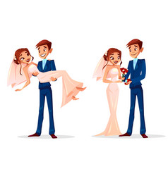 Couple wedding bride and bridegroom vector