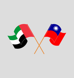 Crossed and waving flags taiwan and united vector