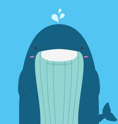 Cute big fat whale smile and wink vector