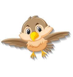 Cute sparrow bird cartoon character vector