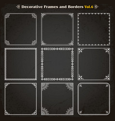 decorative square frames and borders set 6 vector image