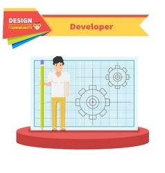 Developer Man Flat Design Concept vector image