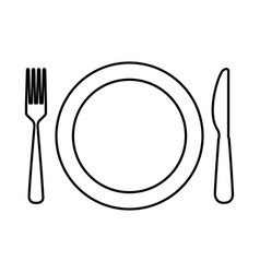 Dish with kitchen cutlery isolated icon vector