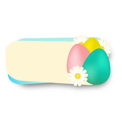 Easter banner decorated with realistic flowers and vector