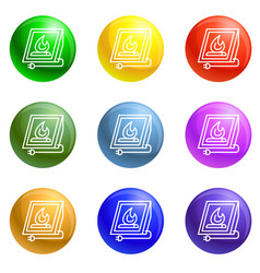 electric fire plug icons set vector image