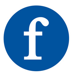 f letter icon on white vector image