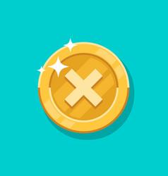 Failure sign gold coin icon flat cartoon vector