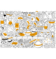 family picnic doodle set vector image