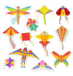Flying kites entertainment and active pastime vector