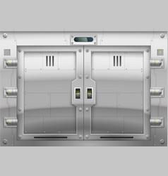 Futuristic metal armoured gate vector