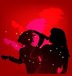 girls guitar microphone vector image