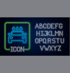 Glowing neon car wash icon isolated on brick wall vector