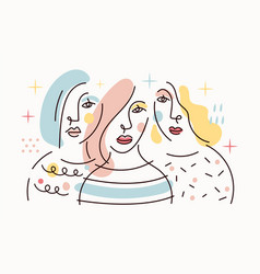 Group girl portrait simply line drawing vector