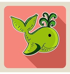 Hand drawn green whale vector image