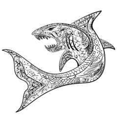 Hand-drawn shark with ethnic doodle pattern vector
