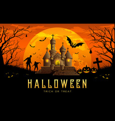 Happy halloween banner castle orange background vector