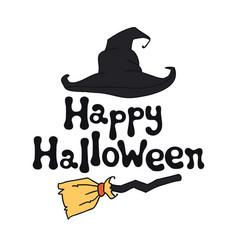 Happy halloween theme handdrawn lettering phrase vector