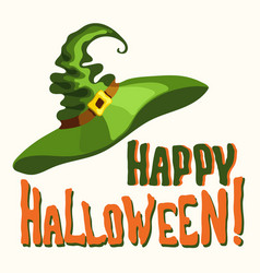 happy halloween title and green witch hat vector image