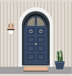 House door front with window and plants flat vector