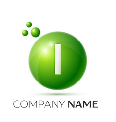 I letter splash green dots and bubbles number vector