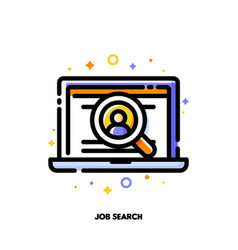 icon laptop with candidates profile and magnifier vector image